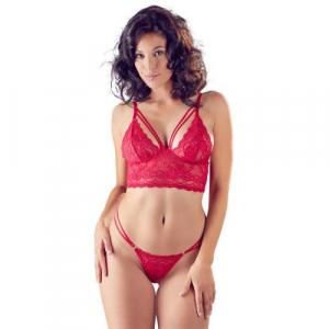 Sexy kanten BH Setje in rood met bralette